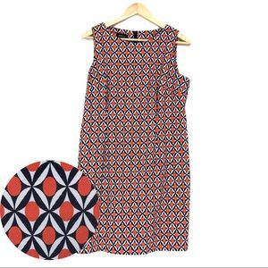 🆕 Geometric Print Sheath Dress Orange Navy White